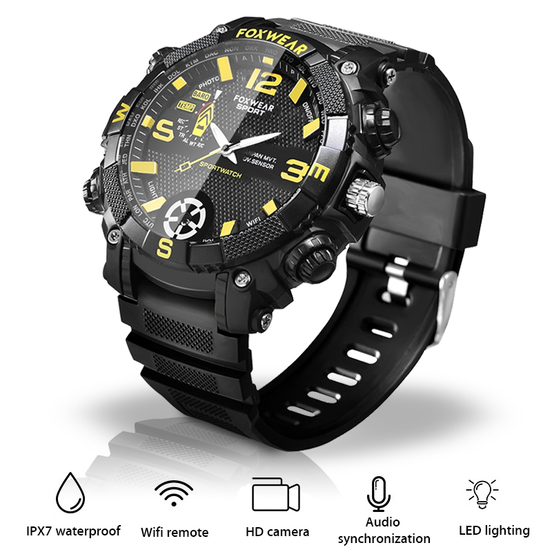 Outdoor Sports  WiFi smart watch Led Flash 5 million High Definition  camera Watch remote LED lighting 720PHD Watch