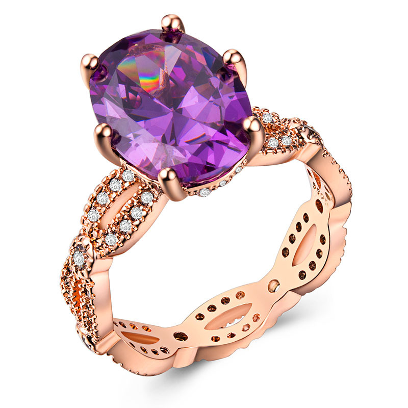 Silver 925 ring Diamond ring Rose golden jade crystal Pink emerald ring amethyst Valentine 39 s Day Olivine Costume jewelryB1058 in Rings from Jewelry amp Accessories