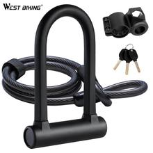 Strong Security U Lock with Steel Cable Bike Lock Combination Anti-theft Bicycle Bike Accessories for MTB,Road,Motorcycle,Chain