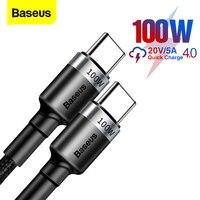 Baseus-Cable de datos PD 100W, Cable USB C a tipo C, QC 3,0, carga rápida 4,0, carga rápida para Samsung, Xiaomi, Macbook Pro, Cable USB C