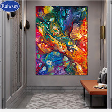 5D Full Square Diamond Painting abstract colorful picture of rhinestone Diamond Mosaic round Diamond Embroidery landscape,