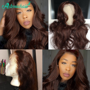 #4 Colored Lace Front Human Hair Wigs For Black Women Brazilian Body Wave Human Hair Wigs Pre Plucked Remy Lace Wig Asteria Hair