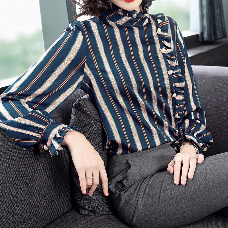 Рубашка в Вертикальную Полоску смешанных цветов 19 осенний Новый стиль Ozhouzhan