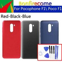 แบตเตอรี่กลับสำหรับ Xiaomi Pocophone F1 Poco F1 ด้านหลังแบตเตอรี่ด้านหลังฝาครอบกรณีแชสซีเปลี่ยน