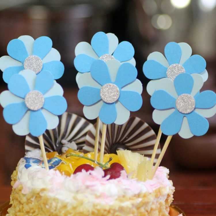 Excellent Super Beautiful Small Flower Toothpick Flag Cake Decoration Funny Birthday Cards Online Necthendildamsfinfo