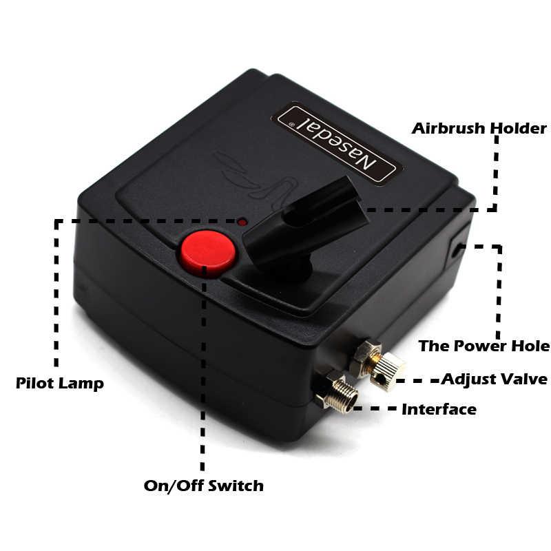 Nasedal dupla-ação airbrush pistola de pulverizador mini airbrush compressor kit aerógrafo para a arte do prego maquiagem tatuagem modelo bolo carro pintura