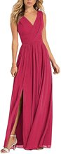V Neck Long Prom Party Ball Gown Wedding Guest Bridesmaid Dress with Side Slit long evening prom dresses with slit
