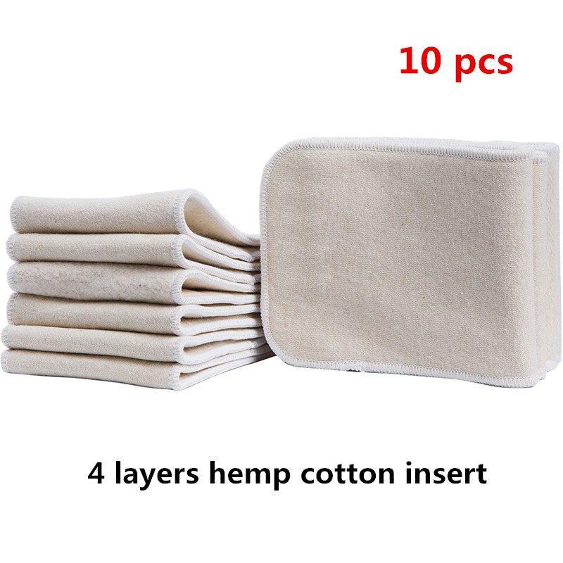 10 Pcs Baby Reusable Soft Diaper 4 Layers Hemp Cotton Newborn Washable Breathable Nappy Inserts Baby Cloth Diapers Free Shipping