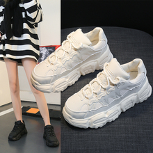 Ladies Running Shoes Lace-up Sneakers Women Flats White Roun