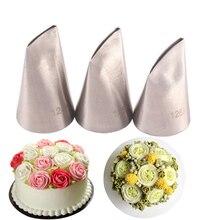 #124K #125K #126K 3Pcs Rose Pastry NozzlesชุดหัวฉีดสแตนเลสDIY Icing pipingเคล็ดลับชุดCupcakeเค้กตกแต่งเครื่องมือ
