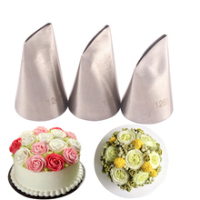 #124K#125K#126K 3pcs Rose Pastry Nozzles Stainless Steel Nozzle Set DIY Icing Piping Tips Sets Cupcake Cake Decorating Tools