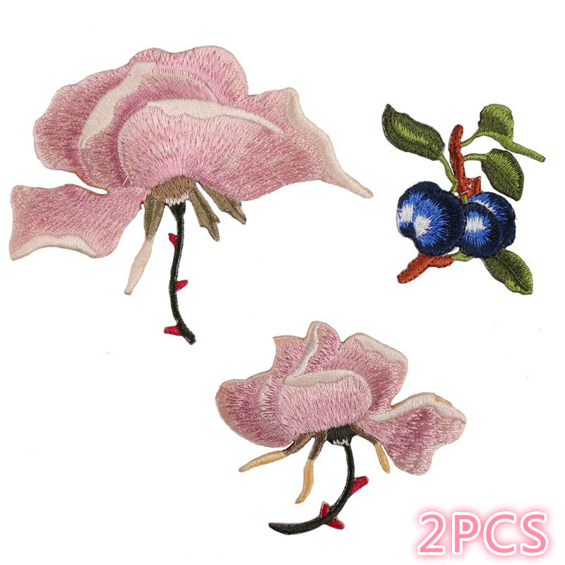 Embroidered Cloth Pasted With Computer Embroidered Seal Boutique DIY Lily Flower Blueberry Clothes Decoration Patch Pasted Cloth