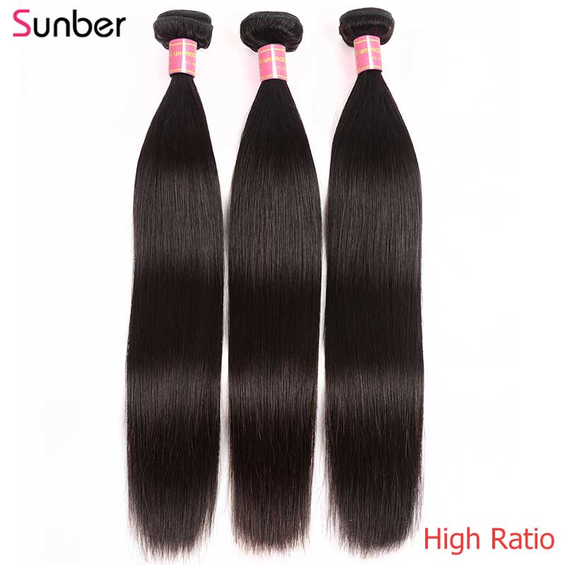 Sunber Hair Peruvian Straight Hair Bundles 3PCS High Ratio Remy Hair Natural Black Color Double Weft 8- 30 Inch Can Be Permed
