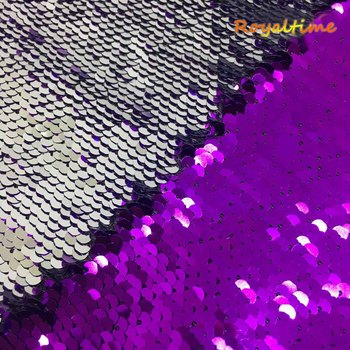 Double Face Sequins Fabric For Handbags Garments DIY Tissue Sewing Fabric Material Craft Making Accessories-Purple/Silver image