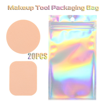 20pcs False Eyelash Makeup Sponge Waterproof Packing Bag Aluminum Foil Holographic Food Bag Small Reclosable Bag Wholesale image