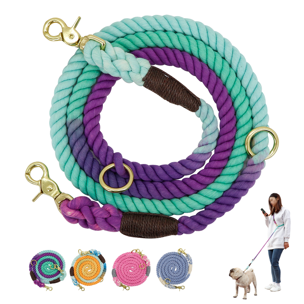 6ft Durable Nylon Dog Leash Round Cotton Dogs Lead Rope Outdoor Pet Walking Training Leads Ropes Leashes Belt