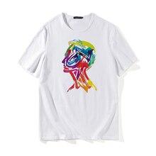 Graffiti Abstract Portrait Print Streetwear T Shirt 2019 Men Hip Hop Casual Short Sleeve Male Harajuku Fashion Cotton Tee Shirts
