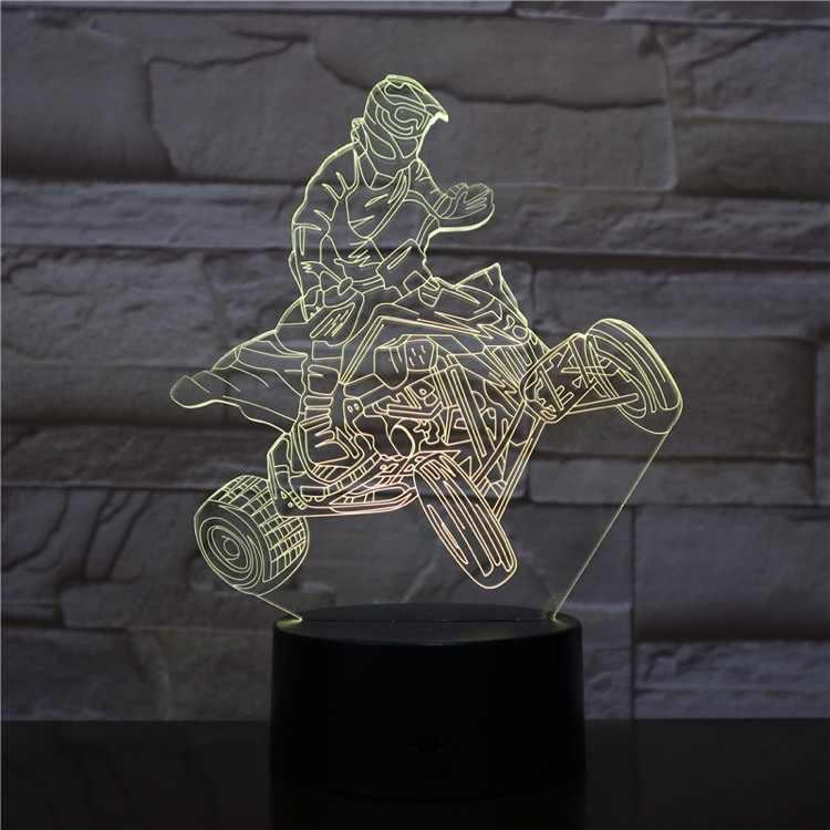 3D лампа четырехколесный гоночный мотоциклист изменение цвета с пультом