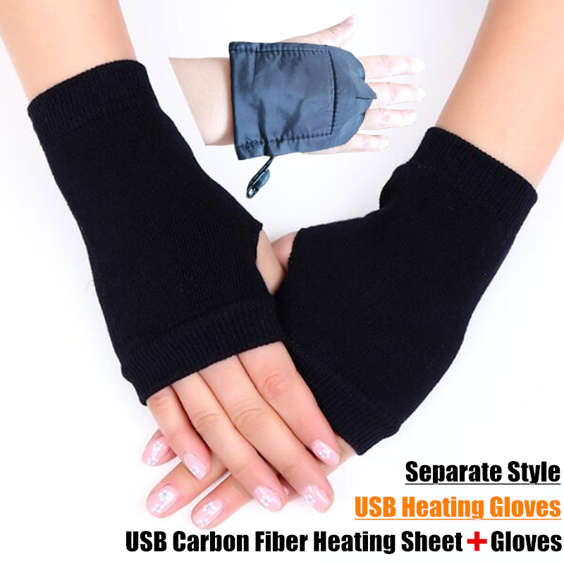 200p Winter Boy&Girl Students Homework Separate Style USB Heating Gloves,Women Office Hand Back Heated Knitted Fingerless Gloves