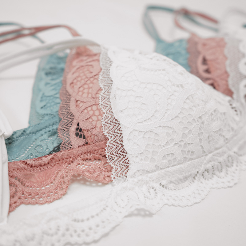 Image 2 - French Wirefree Lace Bra Set Triangle Cups Bralette Transparent Lace Pantie High cut Underwear Thin Padded Lingerie for FemaleBra & Brief Sets   -
