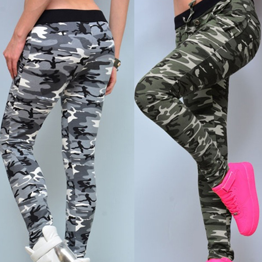 Slim Fit Pencil Pants Women Camouflage Skinny Leggings Stretchy Pencil Pants Drawstring Sports Trousers Summer Pants Plus Size
