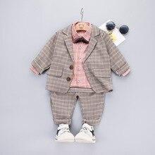 3 PCS Jungen Anzug Set Baby Plaid Kleidung Rosa Hemd + Mantel + Hosen Anzug Kinder Herbst Kleinen Gentleman Kostüm kinder Kleidung