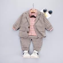 3 pcs 소년 정장 세트 아기 격자 무늬 옷 핑크 셔츠 + 코트 + 바지 정장 어린이 가을 작은 신사 의상 어린이 의류