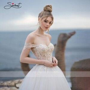 Image 2 - BAZIIINGAAA فستان زفاف فاخر مثير بدون أكمام كتف مكشوف الظهر فستان زفاف نوبل دانتيل خرز دعم خياط
