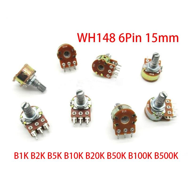 30 шт. B1K B2K B5K B10K B20K B50K B100K B500K 15 мм 6Pin вал WH148 усилитель двойной стерео потенциометр