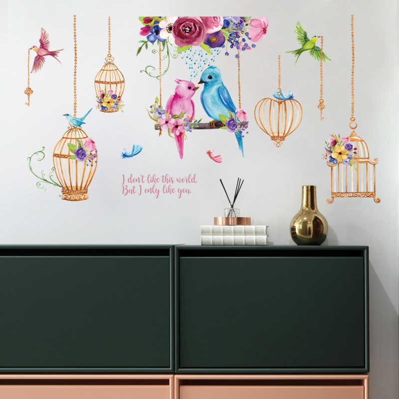 משפחת עץ ציפור כלוב קיר מדבקות בית תפאורה Cartoon קיר אמנות מדבקות קיר נשלף ויניל כרזות ילדים חדר קישוטים