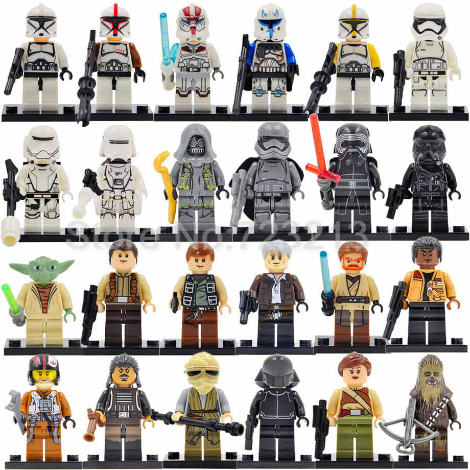 Single Sale Star Wars Clone Trooper Yoda Luke Obi Wan Kenobi Sosok Bangunan Blok Set Model Batu Bata Mainan Legoing
