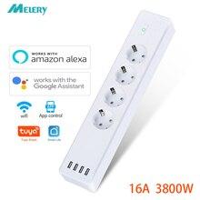 Wifi Smart Power Strip Surge Protector 4 Eu Plug Outlets Elektrische Socket Met Usb App Voice Afstandsbediening Door Alexa google Thuis