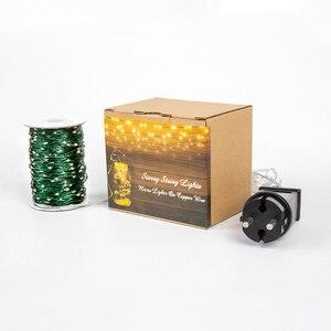 Image 5 - Cable verde 1000 luces de cadena LED 100m luces navideñas al aire libre guirnalda de árbol impermeable decoración de vacaciones de Navidad
