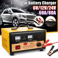 Car Battery Charger 6V 12V 24V Full Automatic Electric Car Battery Charger Intelligent Pulses Repair Type 60A/ 80A for Car