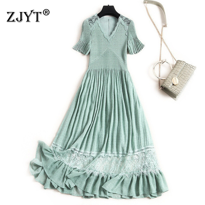 Summer New 2020 Europe Fashion Women Dress Short Sleeve V Neck Lace Patchwork Mid Calf Casual Chiffon Dresses
