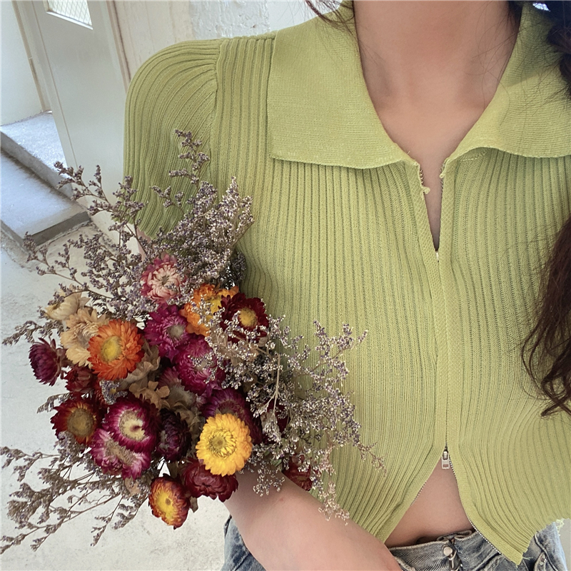 Women Turn-down Collar Knitted Short Sleeve Cropped Zipper Slim Sweaters Cardigans Lady Knit Short Crop Tops For Female