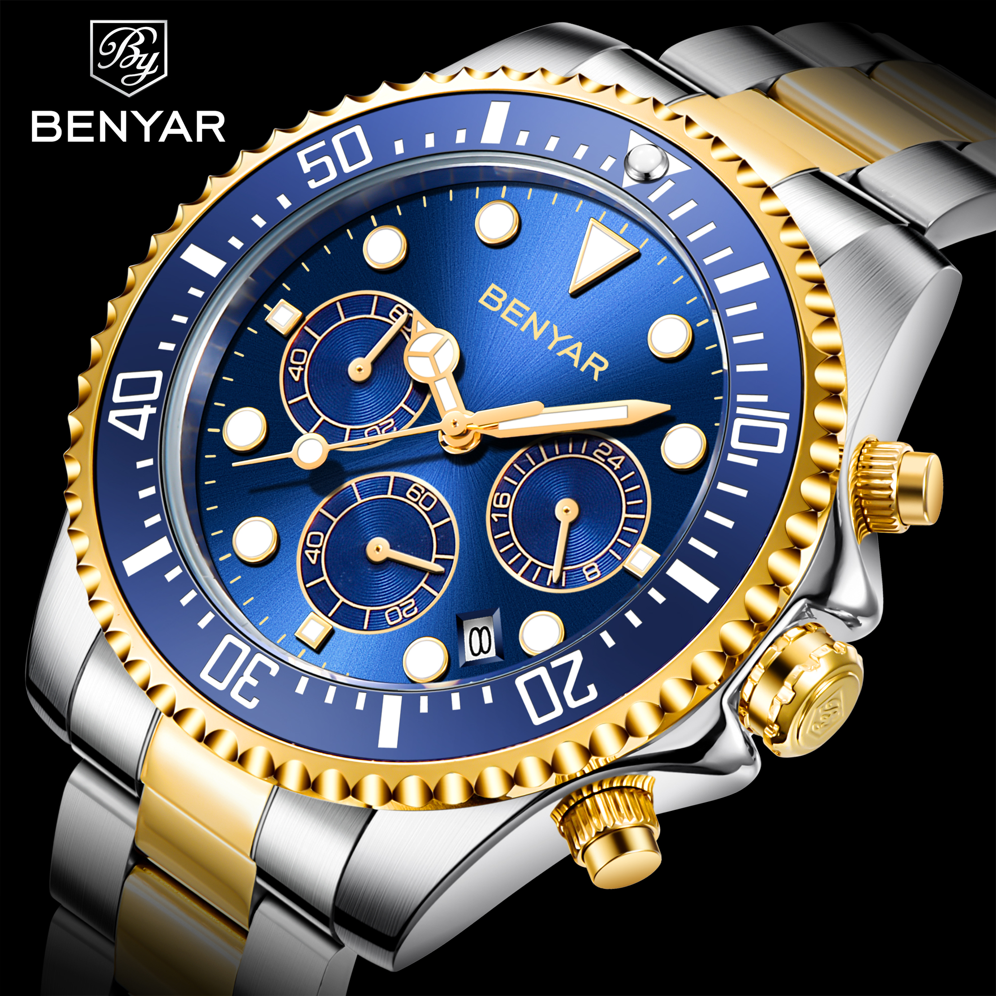 BENYAR 2020 Mens Casual Sport Watch Top Brand Luxury Army Military Mens Wrist Watch Stainless Steel Clock Relogio Masculino
