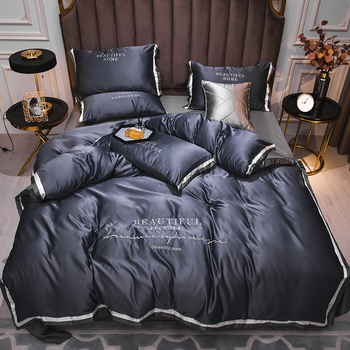 2021 New Luxury Bedding Sets Double-Sided High-End Home Textile  Embroidery Sheet Comforter Set Bedding 4Pcs Set King Queen Size