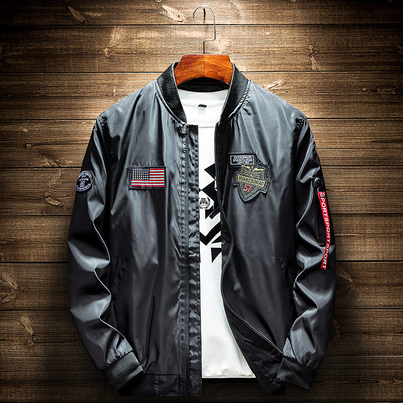 2019 Autumn Men ' S Military Bomber Jackets Men Casual Zipper Pilot Jacket New Thin Stand Collar Male Coat On Sale