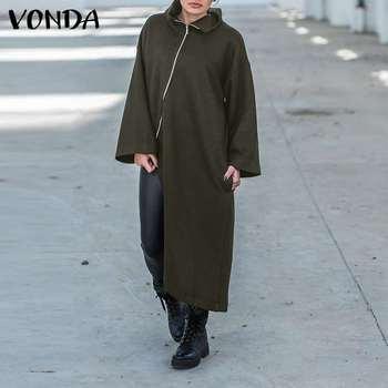 VONDA Women Coats Fashion Long Sleeve Stand Collar Zipper Warm Asymmetric Jackets Overcoats Irregular Outerwear Femme Plus Size new fashion women female korean short type long sleeve slim motor zipper leather jackets coats