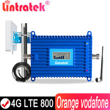 Lintratek 4g sinal impulsionador banda 20 repetidor 800mhz telefone amplificador de sinal lte alc antena b20 + 10m cabo