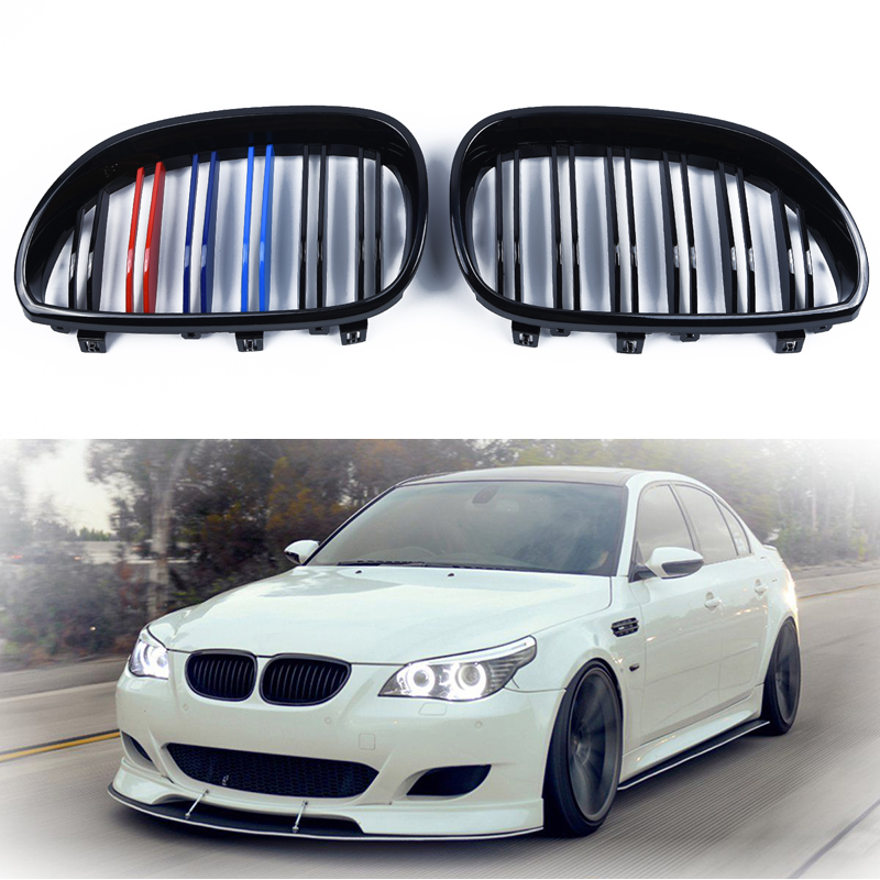 1 Pair Right & Left Front Kidney Grill Grille Gloss Black M-Color Stylish For <font><b>BMW</b></font> <font><b>5</b></font> <font><b>Series</b></font> <font><b>BMW</b></font> <font><b>E60</b></font> E61 2003-2010 Car Accessories image