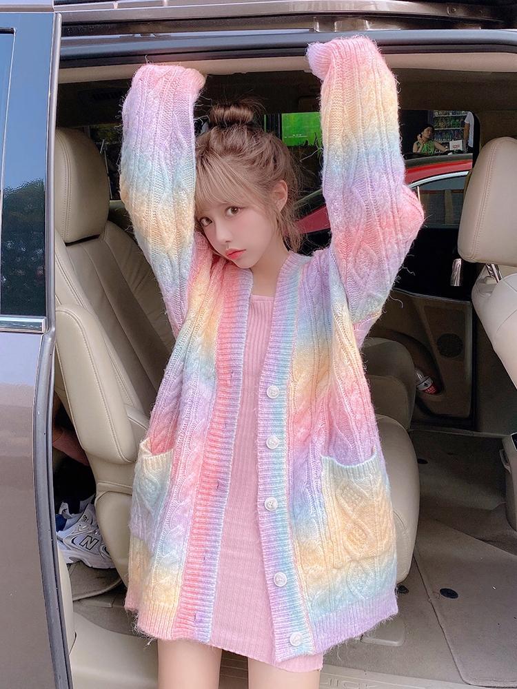 Rainbow Rajutan Cardigan Wanita Musim Gugur Musim Dingin Tombol Cardigan Panjang Wanita Gaya Korea Manis Kawaii Sweater Mantel Wanita 2020 Lucu