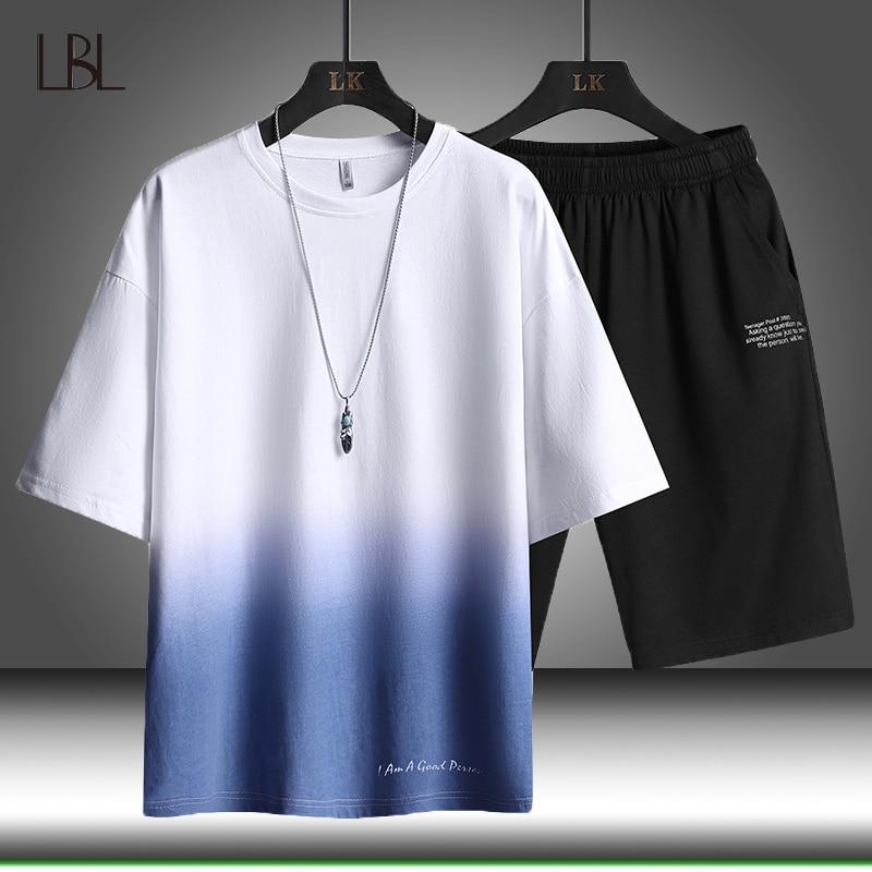 Masculino verão casual roupas de treino dos homens definir terno de fitness ternos esportivos manga curta t camisa + shorts respirável 2 peça conjunto
