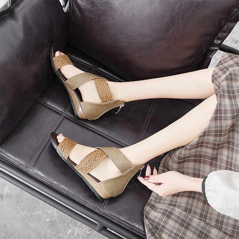 Yaz kadın kama sandalet Casual kadın ayakkabı Retro kenevir Bohemia fermuarlı bayan kapak topuk sandalet konfor kadın ayakkabı 2020