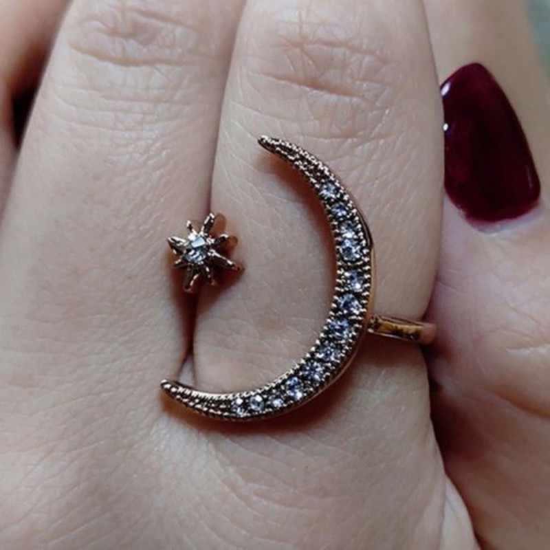 Mujeres ajustable media luna y estrella anillo plata blanco fiesta joyería