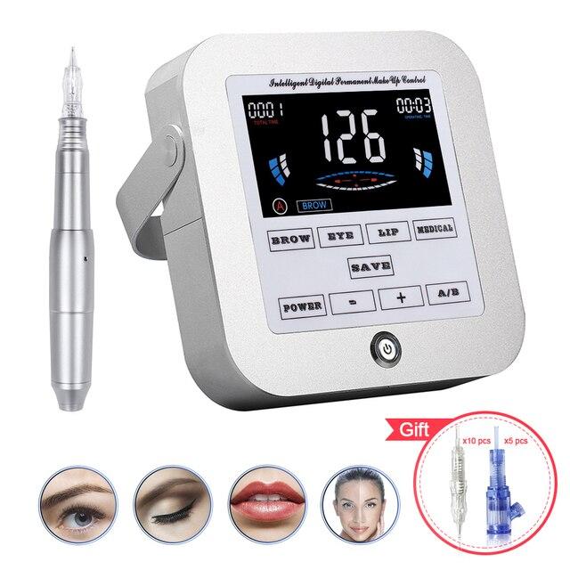 Biomaser tattoo machine kit intelligent digital eyebrow lip tattoo permanent makeup machine kit device Swiss motor rotary gun