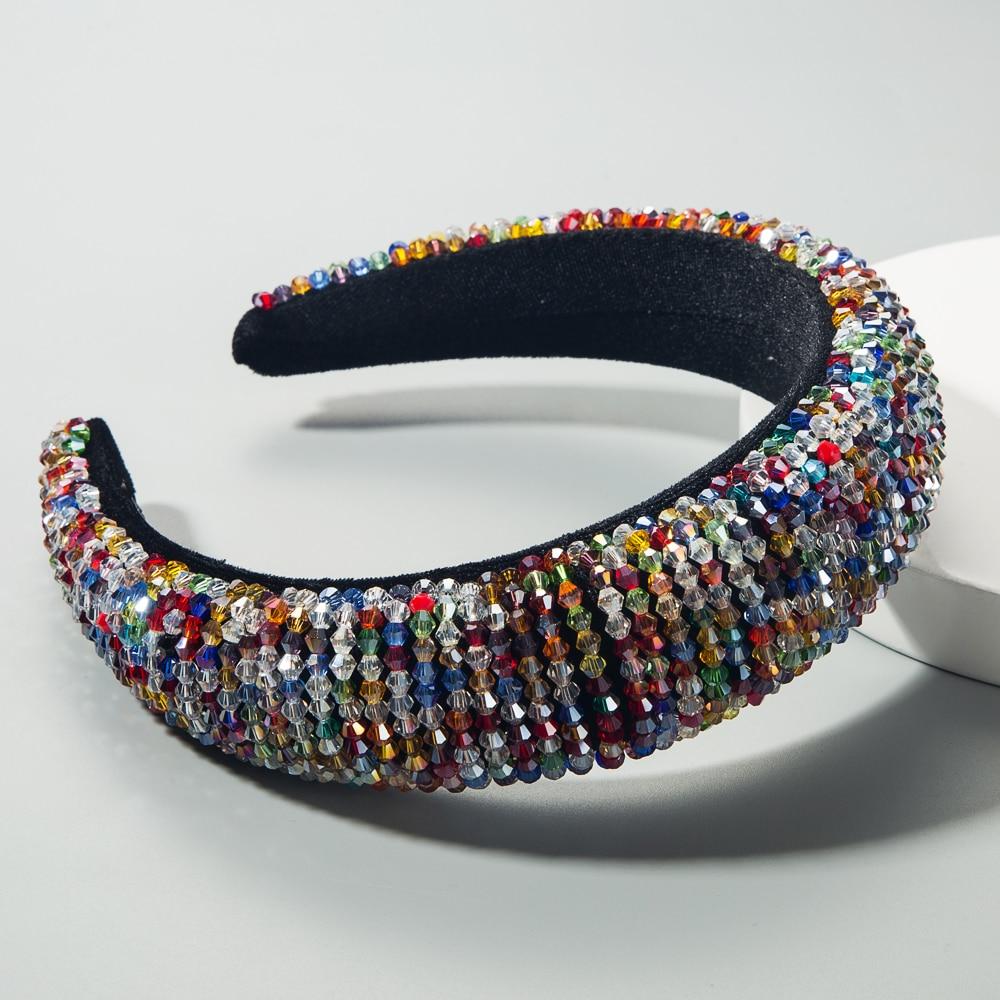 Headband Hoop Beaded Crowns Wedding-Tiaras Crystal Wide-Hair Hand-Made Colorful Baroque