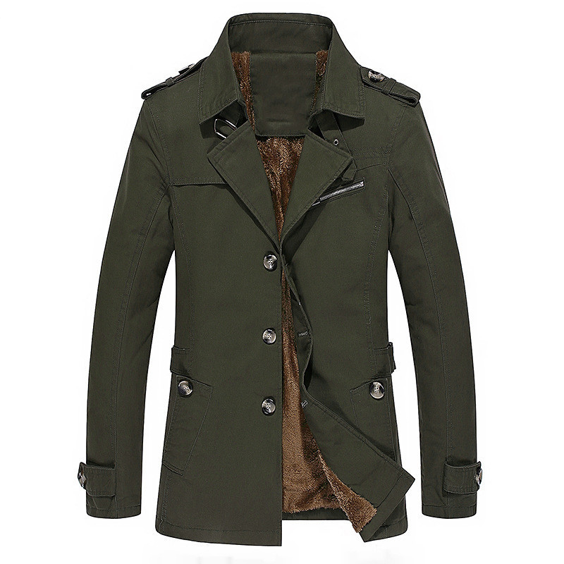 Male Coat Brand New Men Trench Coats Autumn Winter Casual Fashion Men's Solid Color Trench Medium Long Section Trench Men