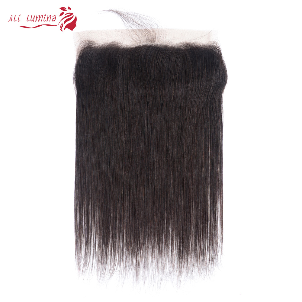 Pelo humano liso brasileño cierre Frontal de malla 13x4 encaje suizo 100% cabello humano Remy Natural 4X4 Cierre de encaje